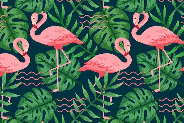 Flamingo-muster-sammlungskonzept Premium Vektoren
