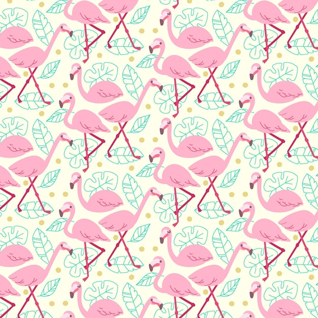Flamingo-muster-sammlungskonzept Kostenlosen Vektoren