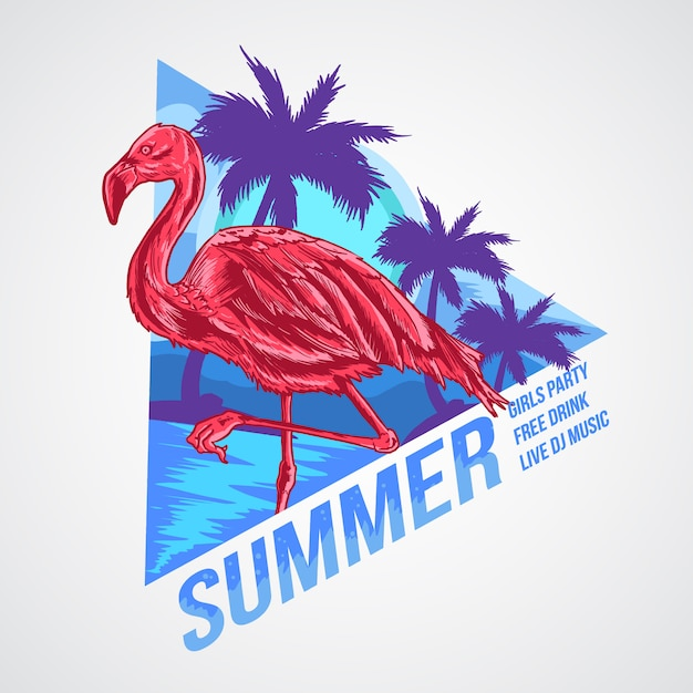 Flamingo sommer element artwork vektor Premium Vektoren