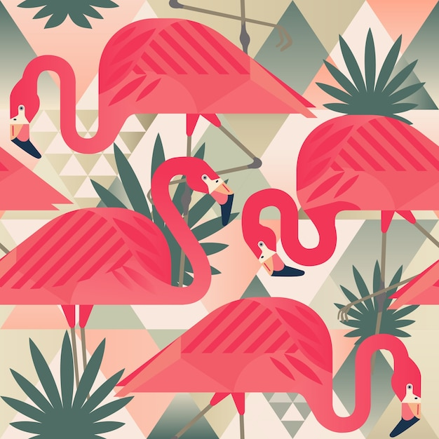 Flamingo trendiges muster. Premium Vektoren