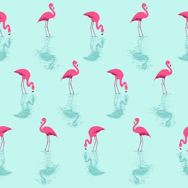 Flamingo und wasser-sommer-muster Premium Vektoren