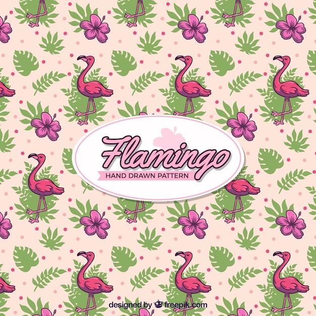Flamingomuster mit gezeichneten art der anlagen in der hand Kostenlosen Vektoren