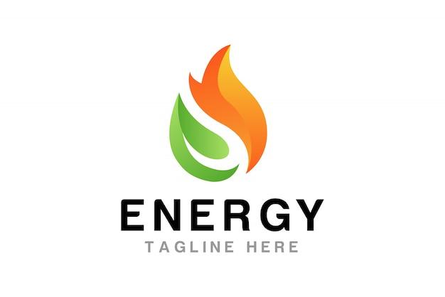 Flamme mit blatt logo design template Premium Vektoren