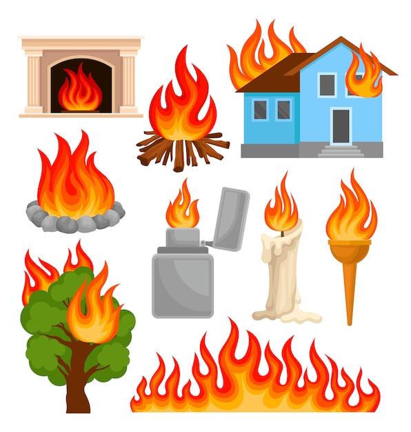 Flammende und brennende gegenstände setzen, quellen der feuerausbreitung illustrationen auf einem weißen hintergrund Premium Vektoren