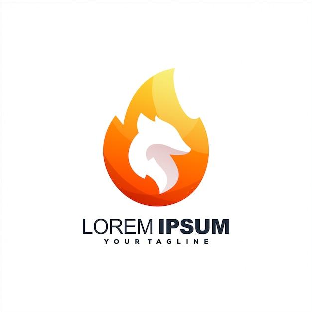 Flammenfuchs-steigungslogodesign Premium Vektoren