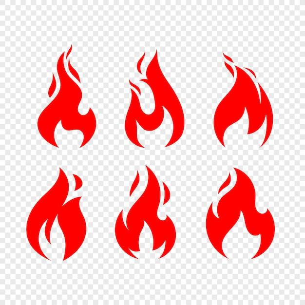 Flammenikonen-vektorsammlung lokalisiert Premium Vektoren