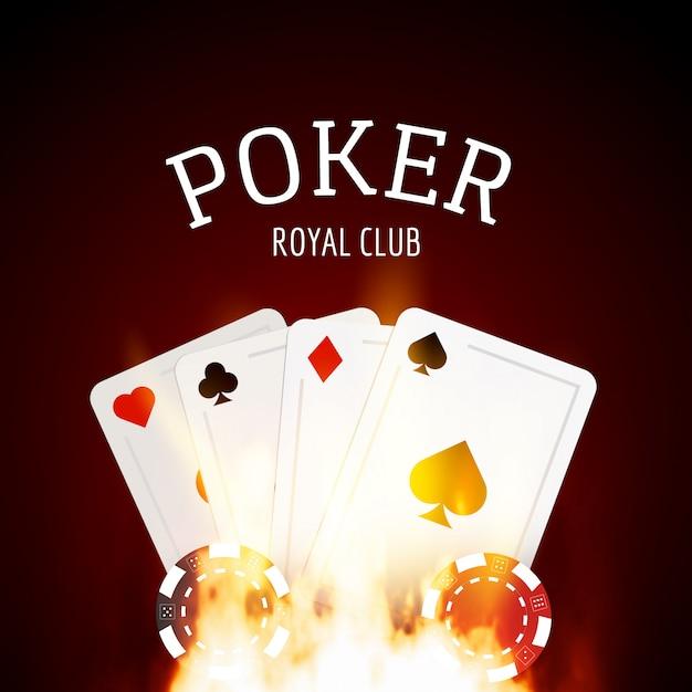 Flammenpoker-kasinoentwurf mit karten- und chiphintergrund Premium Vektoren
