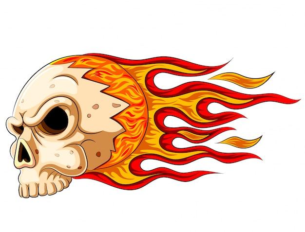Flammenschädelhorror-übel brennen heiß Premium Vektoren