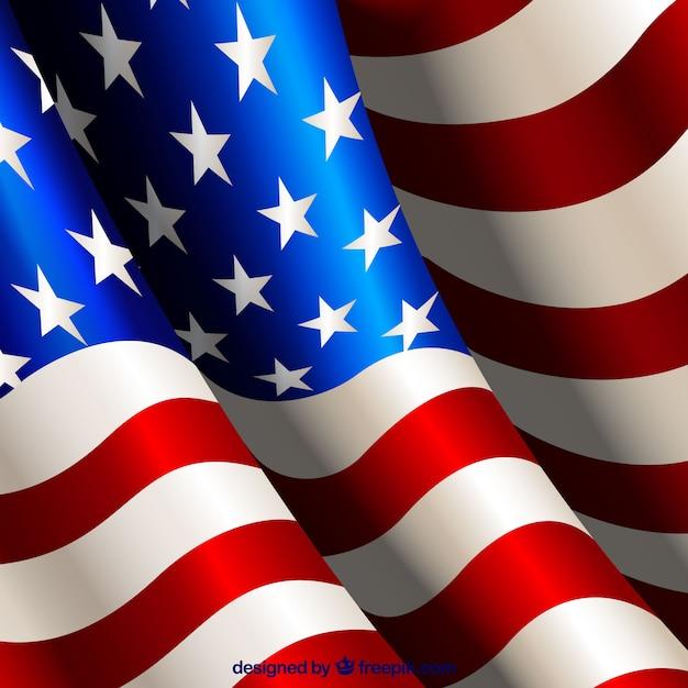 Flaped Amerikanische Flagge realistischen Hintergrund Kostenlose Vektoren