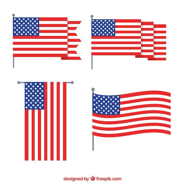 Flaped Amerikanische Flagge Sammlung flachen Design Kostenlose Vektoren