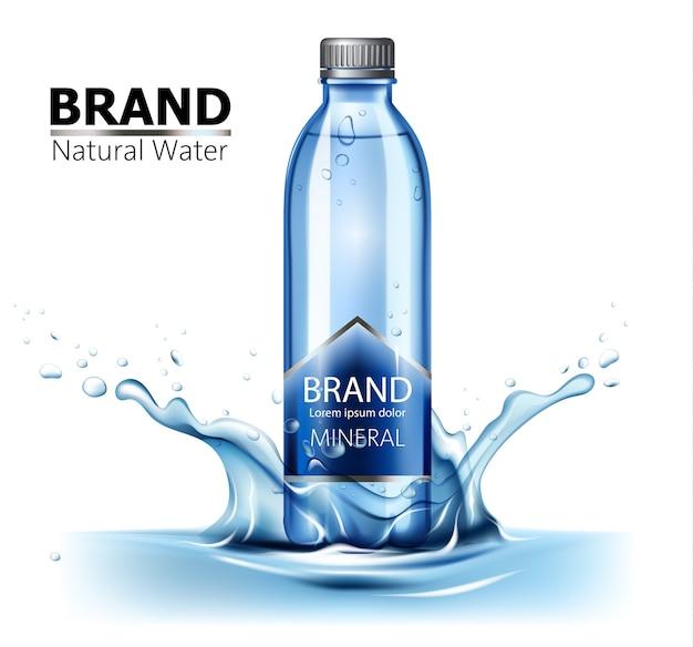 Flasche mineralwasser mit platz für text in der mitte eines wasserspritzers Premium Vektoren