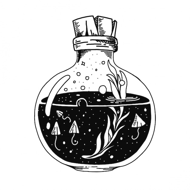Flasche mit gezeichneter illustration des gesundheitstrank-, gift- und blatttranks hand Premium Vektoren