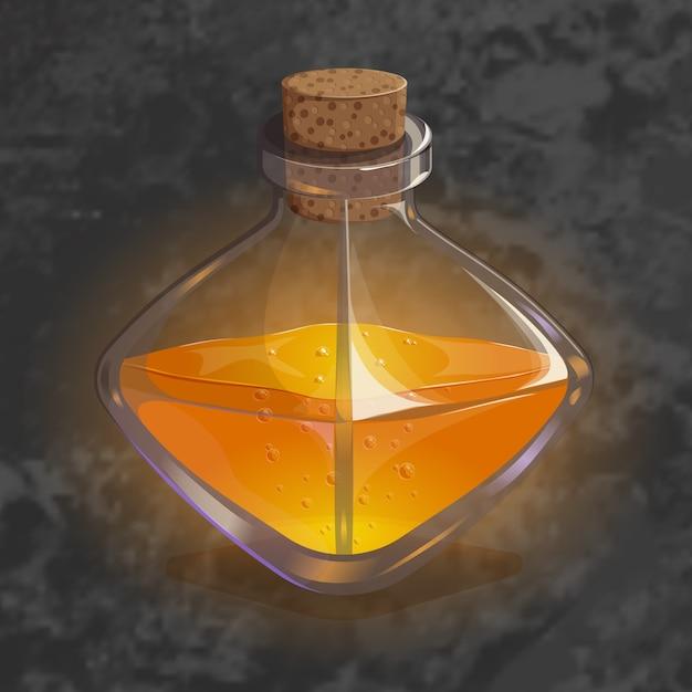 Flasche mit orangentrank. spielikone des magischen elixiers. Premium Vektoren