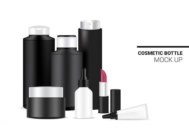 Flasche mock up realistische kosmetische schwarzweiss-schablonen-set für hautpflege Premium Vektoren