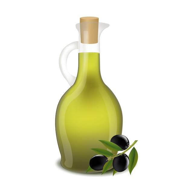 Flasche olivenöl getrennt Premium Vektoren