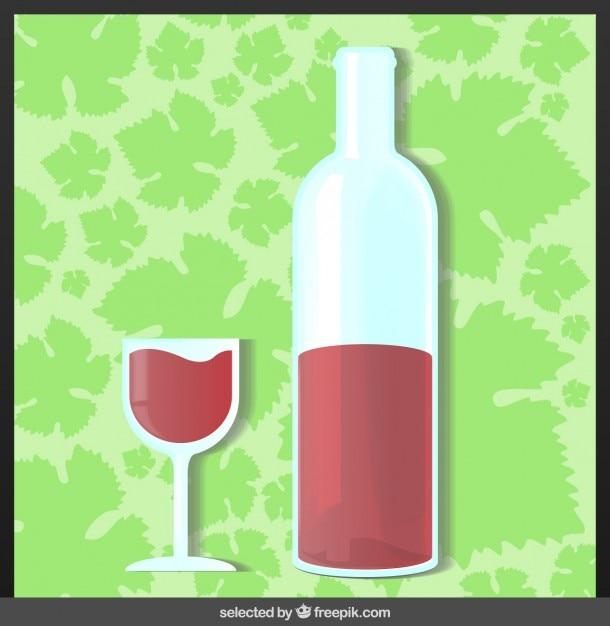 flasche und ein glas wein download der kostenlosen vektor. Black Bedroom Furniture Sets. Home Design Ideas