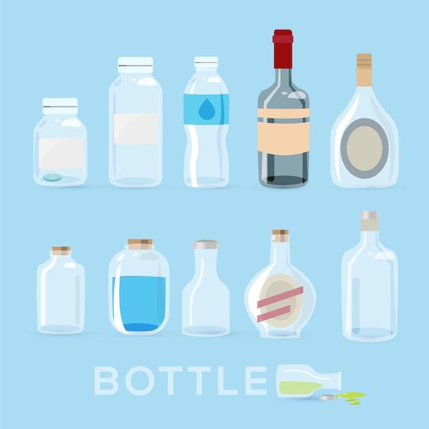 Flaschen eingestellt. Premium Vektoren