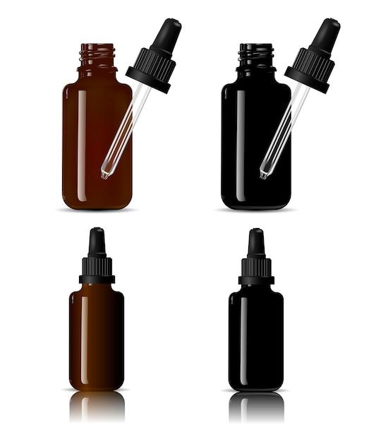 Flaschen für medizinische produkte, flüssige flüssigkeiten, öl Premium Vektoren