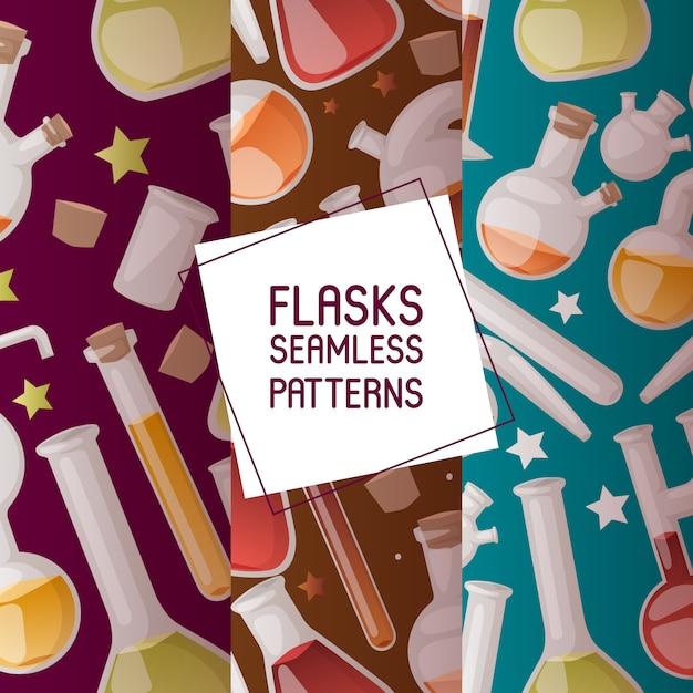 Flaschen set nahtlose muster. verschiedene laborglaswaren und flüssigkeit für analyse, reagenzgläser mit flüssigkeiten Premium Vektoren