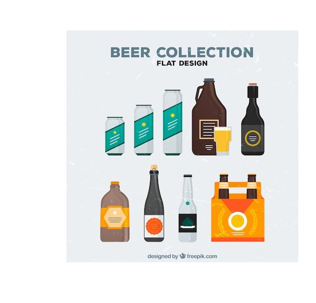 Flaschen und dosen bier-set Kostenlosen Vektoren