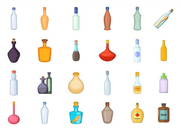 Flaschenelementsatz. karikatursatz flaschenvektorelemente Premium Vektoren