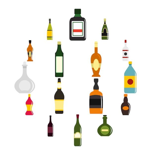 Flaschenformikonen eingestellt in flachen stil Premium Vektoren