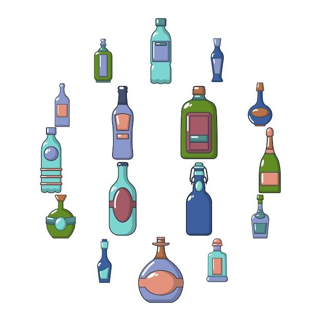 Flaschenikonen eingestellt, karikaturart Premium Vektoren