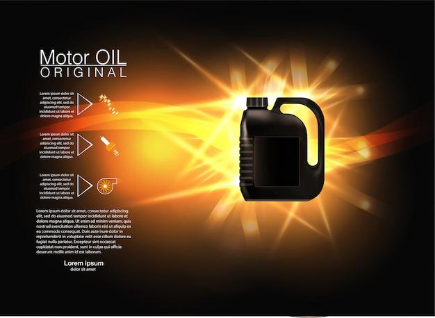 Flaschenmotoröl auf einem hintergrund ein automobilkolben, technische illustrationen. Premium Vektoren