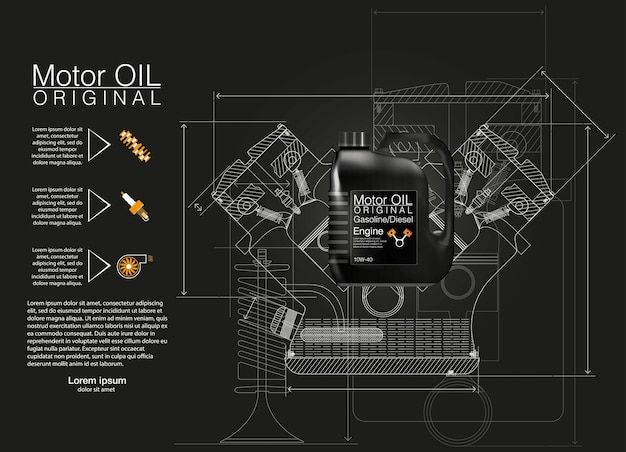 Flaschenmotoröl hintergrund, abbildung, technische abbildungen. Premium Vektoren