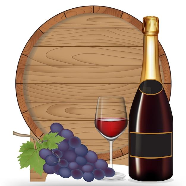 Flaschenwein, traube, glaswein und hölzernes fass lokalisiert auf weißem blackground, vektorillustration Premium Vektoren