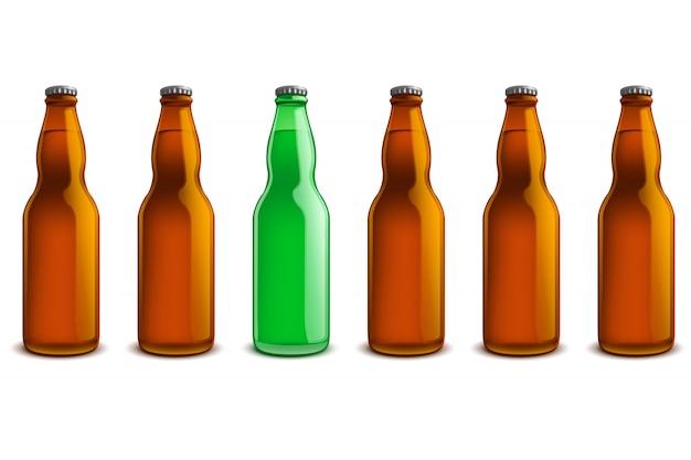 Flaschenzeile Premium Vektoren