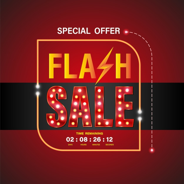 Flash sale banner 3d-stil Premium Vektoren