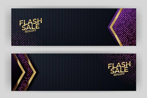 Flash sale banner hintergrund luxus-design Premium Vektoren