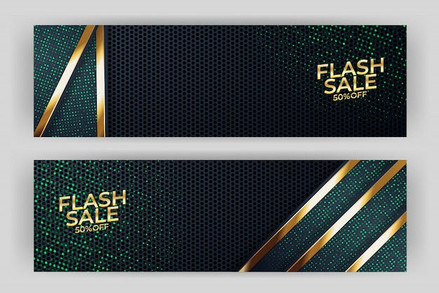 Flash sale banner mit goldenem hintergrund stil premium Premium Vektoren