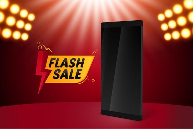 Flash sale banner mit smartphone Premium Vektoren