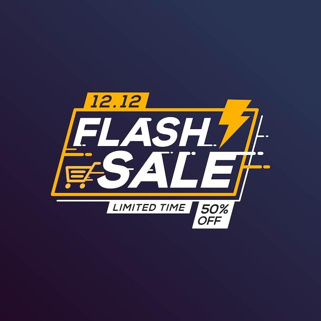 Flash sale banner vorlage sonderangebot mit donner Premium Vektoren