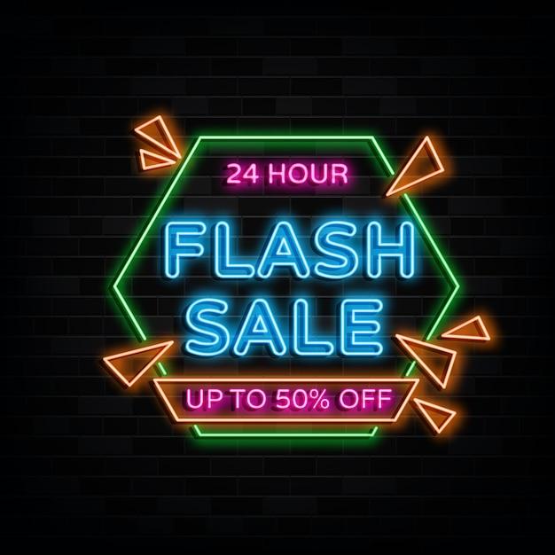Flash sale leuchtreklamen design vorlage neon style Premium Vektoren