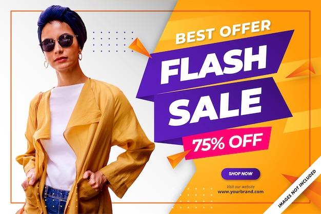Flash sale rabatt banner promotion hintergrund Premium Vektoren