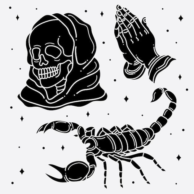 Flash-tattoo-horror einstellen Premium Vektoren