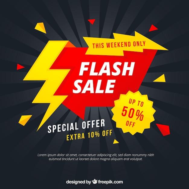 Flash-Verkauf Hintergrund in flachen Stil Kostenlose Vektoren