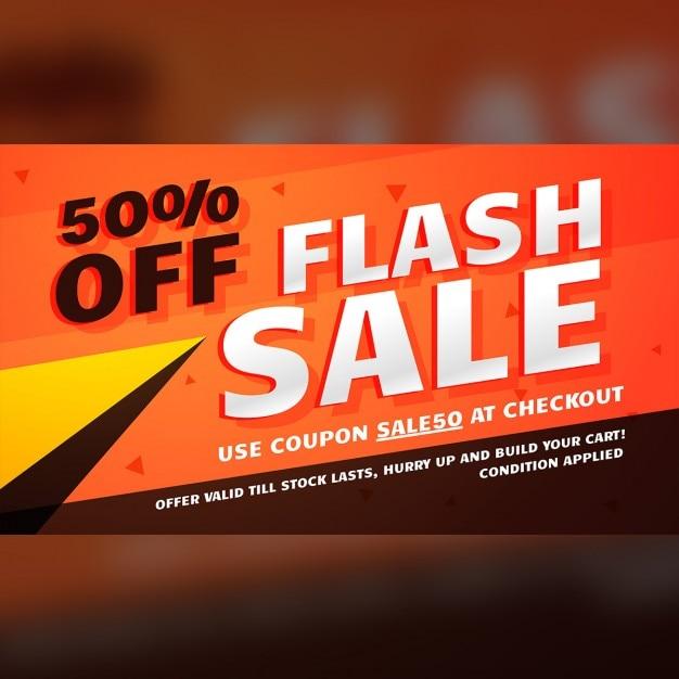 Flash-verkauf promotion-banner-vorlage für marketing Kostenlosen Vektoren