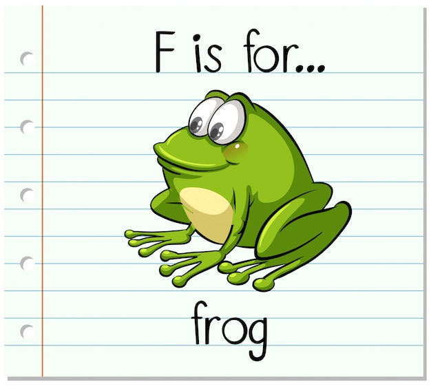 Flashcard buchstabe f ist für frosch Kostenlosen Vektoren