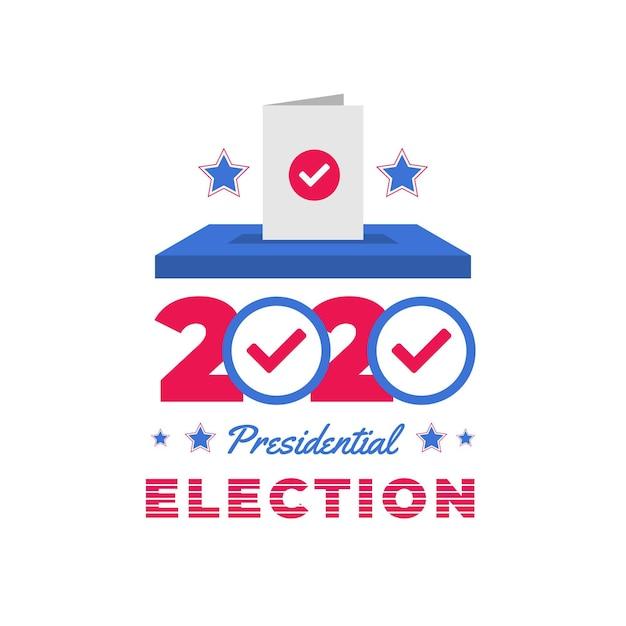 Flat 2020 uns präsidentschaftswahl stimmzettel in box Premium Vektoren