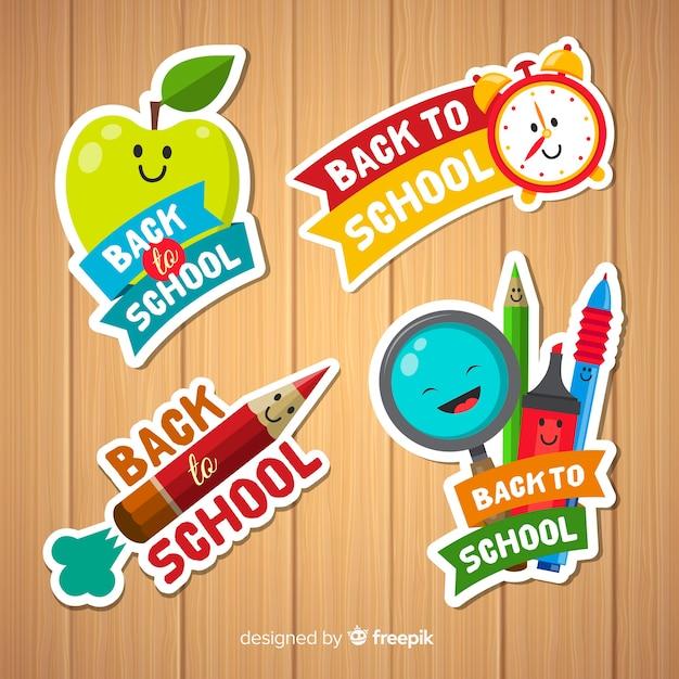 Flat back to school badge collection Kostenlosen Vektoren