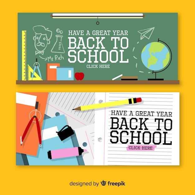 Flat back to school banner Kostenlosen Vektoren