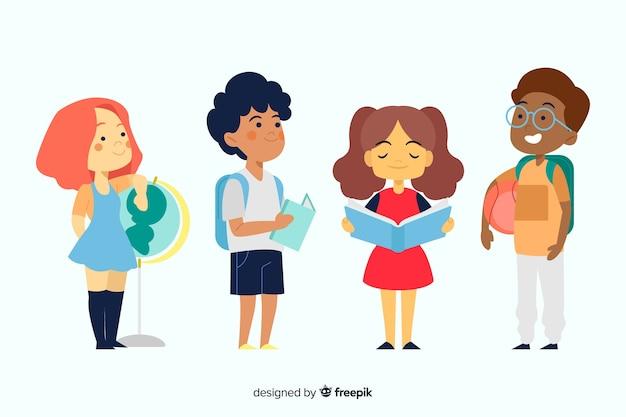 Flat back to school children Kostenlosen Vektoren