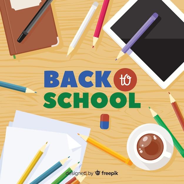 Flat back to school hintergrund Kostenlosen Vektoren