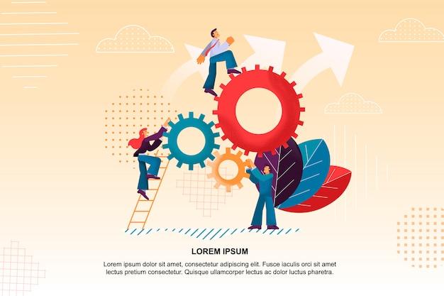 Flat banner daily brainstorming ist der beste mitarbeiter. Premium Vektoren