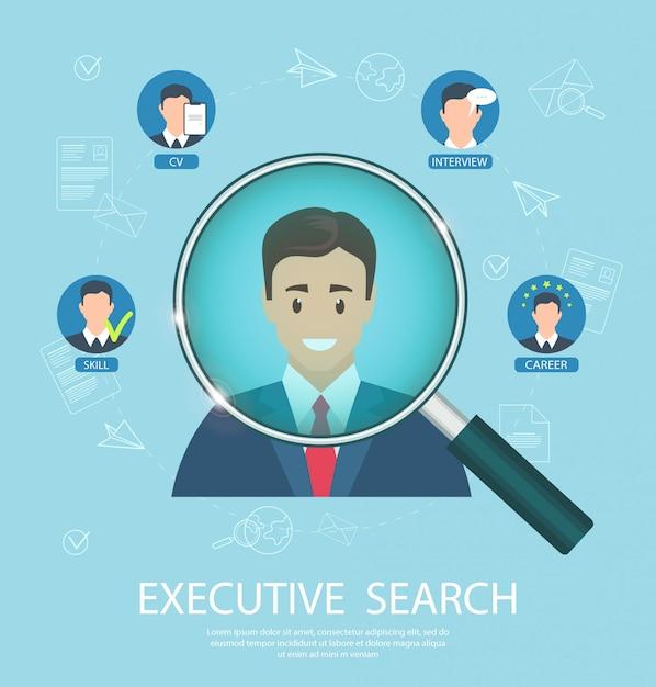 Flat banner executive search - erfolgreicher abschlussjob. Premium Vektoren