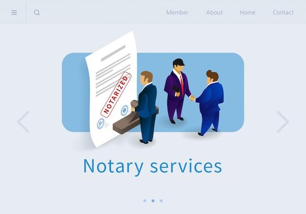 Flat banner notary services landing page isometrisch Premium Vektoren